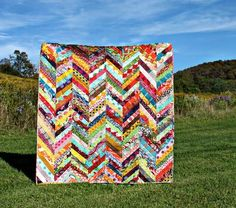 Scrappy Herringbone Quilt Tutorial | Use your prettiest scraps to make a gorgeous herringbone quilt!