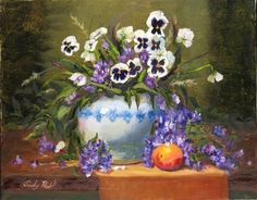"""""""Pansies in Blue Pot with Lilacs and a Peach"""""""