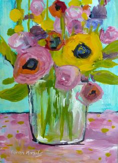 Summer Flower Bouquet Contemporary by KarenMargulisFineArt on Etsy, $45.00
