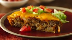 "Impossibly Easy Taco Pie This unbelievably simple dinner recipe is a long-time Bisquick favorite! Betty Crocker member Cindymeredith says, ""I have been making this for over 20 years! It is one of the first dishes I learned to make! Very good and so easy! Taco Pie Recipes, Bisquick Recipes, Casserole Recipes, Mexican Food Recipes, Dinner Recipes, Cooking Recipes, Easy Recipes, Taco Pie With Bisquick, Mexican Meals"