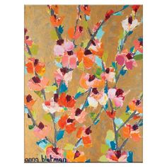 Add a pop of garden-chic appeal to your living room or master suite with this lovely canvas print, featuring a bright floral motif.
