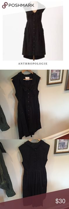 """Anthropologie Postmark Four Corners Black Dress Anthropologie Postmark Four Corners Black Dress. 16.5"""" bust. 14"""" waist. 34"""" long in front, 39"""" long in back. Gently worn. Textured. Button down. Wood buttons. Great condition. Feel free to make an offer or bundle & save! Anthropologie Dresses High Low"""