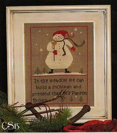 "Cross Stitch Snowman Pattern by Brenda Gervais (With Thy Needle) ""Snowy Meadow"""