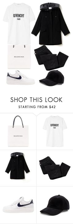 """B&W outing"" by its-life ❤ liked on Polyvore featuring Balenciaga, Givenchy, Lacoste, Avon, NIKE and NOLA"