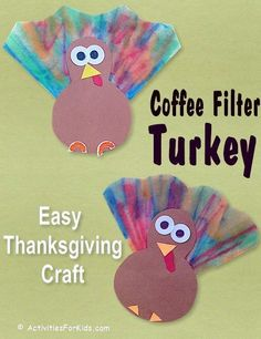 Mini Turkey Craft - Thanksgiving Craft PreschoolAnother simple Thanksgiving Day for preschoolers. Use of a coffee filter to make these cute little Thanksgiving turkeys. Printable by ActivitiesForKids .Easy Thanksgiving Crafts for children: Turkey Craft Turkey Crafts Preschool, Thanksgiving Crafts For Toddlers, Thanksgiving Crafts For Kids, Daycare Crafts, Classroom Crafts, Preschool Art, Holiday Crafts, Thanksgiving Turkey, Kindergarten Thanksgiving Crafts