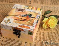 Joyería de madera caja de decoupage shabby chic caja por ArtDidi