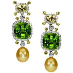Peridot Sapphire Golden South Sea Pearl Diamond Gold Platinum Drop Ear-clips .