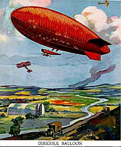 "Dirigible - ""[not] 1900 [not] by Ferdinand Zeppelin""  Rather, a British SS type non-rigid dirigible, c.a. 1915"