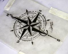 compass tattoo sketch- Thiago Padovani