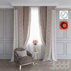 3d модели: Шторы - Портьера, кресло и столик с розами (Vray+Corona))