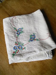 Linen Tablecloth or Curtain Floral Embroidered French Vintage Cornflowers by FromParisToProvence on Etsy