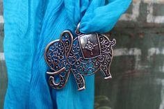 Elephant jeweled blue chiffon scarf  Pendant scarf  by Mayil