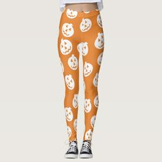 Jack O'Lantern Confetti Leggings White/Orange #halloween #holiday #creepyhollow #women #womensclothing