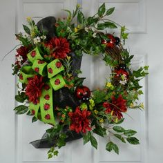 Brighten your spirits with my Ladybug Summer Front Door Wreath by Gaslight Floral Design.