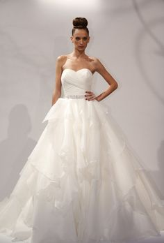 "Brides.com: Dennis Basso - 2013. ""Ana"" strapless ball gown wedding dress with draped sweetheart neckline and ruffled tulle skirt, Dennis Basso See more Dennis Basso wedding dresses in our gallery."