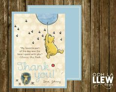 Classic Blue Vintage Winnie the Pooh Custom Thank You by OohLaLlew