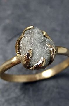 Ring Rough Uncut Diamond Solitaire Recycled 14k gold