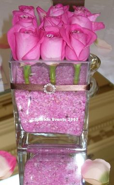 Rose Centrepiece Simple Wedding Table decor.  You can choose any color of rose for this.
