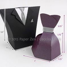 Vestido de novia y novio smoking papel regalo por PaperZenShop