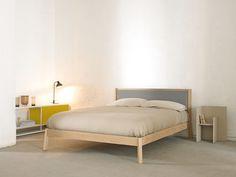Buy online Breda | bed with upholstered headboard By punt, wooden bed with upholstered headboard design Borja Garcia, breda Collection
