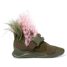 Christopher KaneFeather-embellished Neoprene Sneakers ($725) ❤ liked on Polyvore featuring shoes, sneakers, army green, feather shoes, embellished sneakers, christopher kane, buckle shoes and pink sneakers