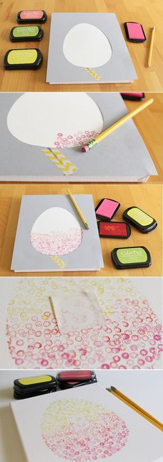 A great Easter arts and crafts project for the kids! You can do this with ANY shape or cut out figure. DIY Eraser stamp art. http://www.ehow.com/ehow-mom/education-and-activities/blog/kid-craft-eraser-stamp-easter-egg-art/