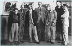 de drentse schilders - vlnr Hans Heyting, Arie van der Boon, Jan Kagie, Hein Kray en Reinhart Dozy.