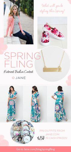 @veryjane is hosting a Spring Fling Fashion Pinterest Contest this week. The winners each receive $50 PayPal CASH! Woohoo! I hope I win! http://jane.com/blog/springfling/