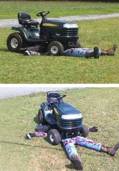 The lawnmower ran over some1 prank!