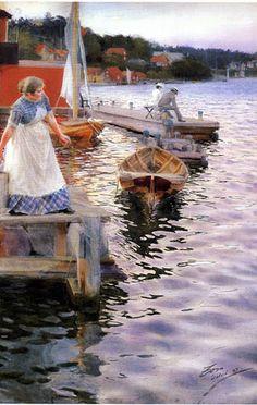 """Anders Zorn """"Vågskvalp"""" (1887). Akvarell 100 x 66 cm. Statens Museum for Kunst, Köpenhamn."""