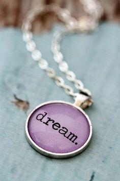 Lavender Purple DREAM quote necklace silver