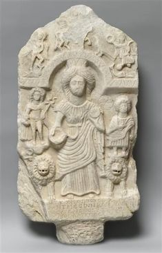 Cybele with attendants, Roman relief (marble), 3rd century AD, Louvre Museum, Paris.