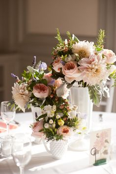 milk glass floral centerpieces.