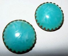 Earrings W Germany Signed Aqua Blue Domed by BrightgemsTreasures, $9.50
