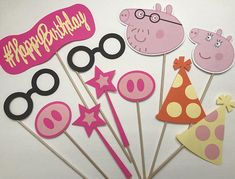 Throwing a Peppa Pig themed birthday party? I have just the thing to make it extra special! This package includes eleven (11) different items, all made by hand out of high-quality cardstock, secured with a wooden dowel for holding. Each wooden dowel stands at 12 inches tall. The