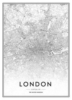 Schwarz-weiße London-Karte.