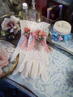 senhoras do vintage de crochê luvas boudoir luvas vaidade cômoda luvas de decoração