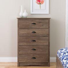 Salt Spring 5 Drawer Dresser Drifted Gray - Prepac