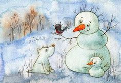 Snowman and dog Winter Illustration, Cute Illustration, Christmas Snowman, Christmas Crafts, Snowman Clipart, Illustrator, New Year Art, Creation Photo, Snowman Crafts
