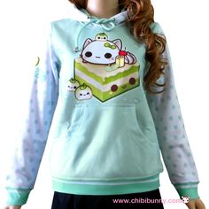 This design features our original character named Mochi with kawaii green tea cake on light mint background.  - Made of heavyweight super-soft polyester fibers - Adjustable drawstring hood - Standard Fit - Machine Washable - Design is imprinted using an advance heat sublimation technique -...