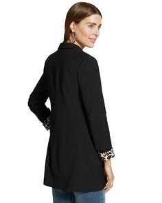 The boyfriend duster: our long jacket adds a classic finish and provides flattering coverage.   Hand pockets.  Length: 30+