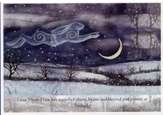 Luna Moon Hare: A Magical Journey With The Goddess by Wendy Andrew. Card from The Goddess and the Green Man
