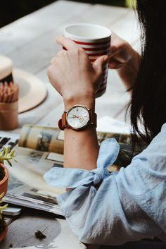 A cup of coffee and a Vintage Muse boyfriend watch are the ultimate Sunday morning essentials. via @halliedaily