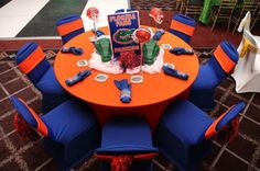 Gator themed tablescape and decor College Graduation Parties, Grad Parties, Themed Parties, Coral Wedding Colors, Blue Orange Weddings, Gator Party, 75th Birthday Parties, Birthday Ideas, Sweet 16 Invitations