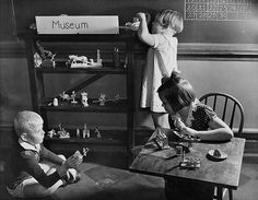 """Kids playing """"museum"""" at a school in Atlanta in 1935."""