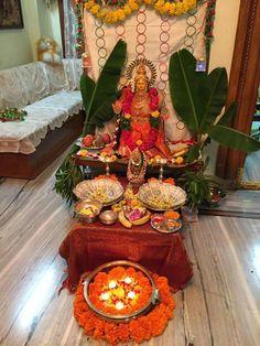 Diwali Pooja, Diwali Diy, Diwali Rangoli, Mandir Decoration, Ganapati Decoration, Diy Diwali Decorations, Festival Decorations, Ganesh Chaturthi Decoration, Pooja Room Design