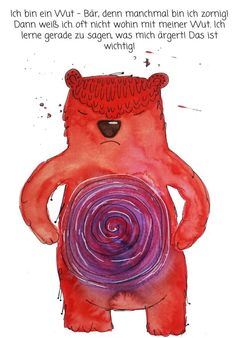 Power cards for children: Wut-Bär by Sabine Brengel - adule Diets Plans To Lose Weight, Kindergarten Portfolio, Kindergarten Math, Painting Workshop, Sewing Box, Kids Health, Health Education, Primary School, Kids Cards