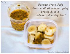 """""""Passion fruit pulp stops a sliced banana going brown""""... Another great tip sent to us by Lisa (she's clearly a very busy Lunchboxer!).  As mums facing the day-in, day-out job of packing lunches we love to hear from you! There is no need to go all """"van-Gogh"""" with artistic creations that take hours of preparation... Keep it real and snap a photo send it to lunchboxlifesavers@gmail.com. Your lunchbox could inspire others, help mums and add a touch of #FunInLunch ;)"""
