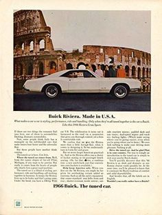 "1966 Buick Riviera Vintage Magazine Ad- ""Buick Rivera. Made in U.S.A."