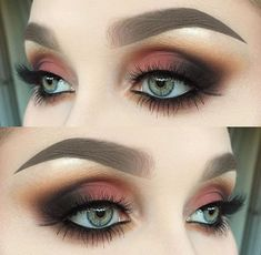 Dramatic Smokey Eye with shaded of grey and cranberry